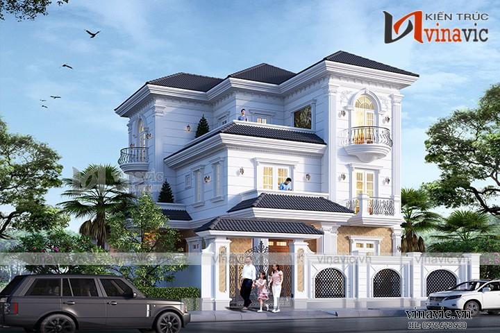 Biệt thự 3 tầng 150m2 mặt tiền 10m 6 phòng ngủ thiết kế tân cổ điển BT1905