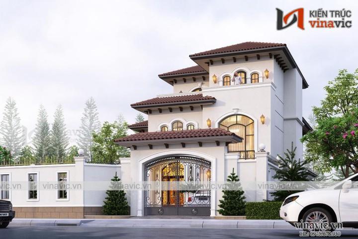 Biệt thự 3 tầng mặt tiền 12m mỗi sàn 180m phong cách địa trung hải
