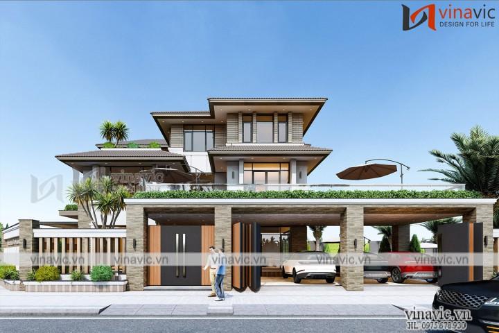 Biệt thự 3 tầng 2 mặt tiền hiện đại kích thước 11x15m ở Bình Dương BT2020