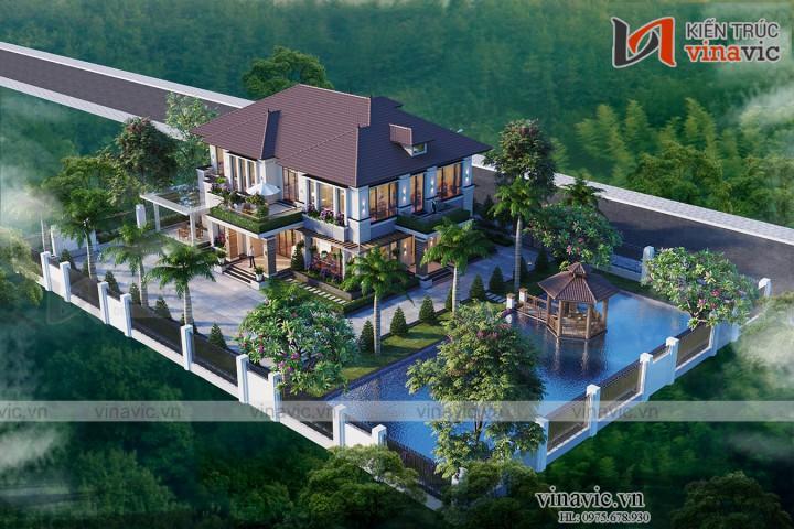 Biệt thự hiện đại 2 tầng có vườn cây ao cá cây xanh quanh nhà BT2002