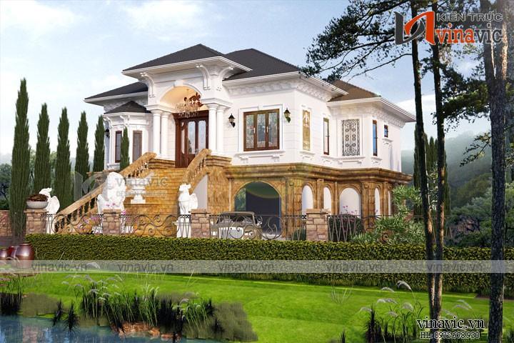 Biệt thự nhà vườn đẹp 2 tầng thiết kế cao cấp BT1820