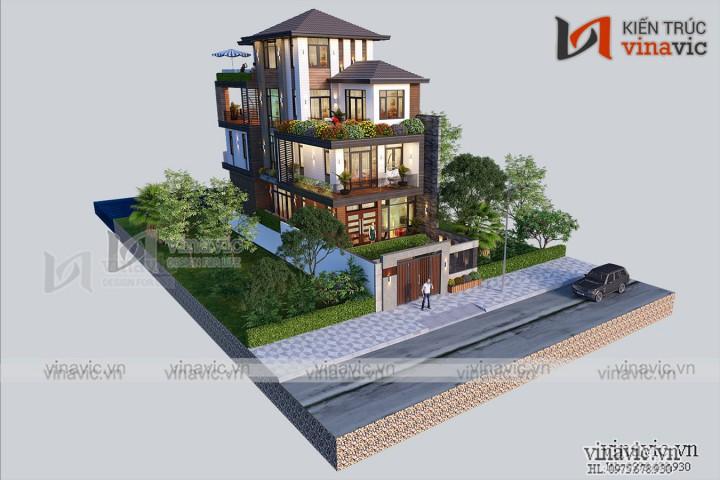Biệt thự phố 3 tầng mặt tiền 7m sâu 14m phong cách hiện đại BT2022