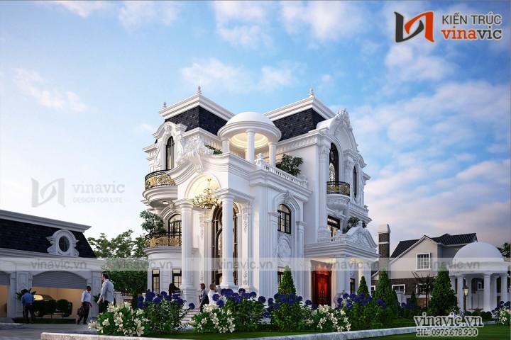 Biệt thự vườn 3 tầng phong cách tân cổ điển kiểu Pháp ở Hòa Bình BT2032