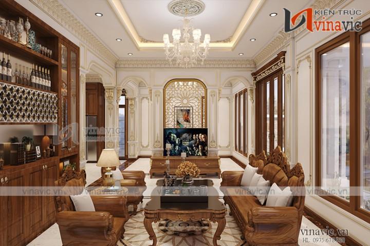 Nội thất phòng khách và bếp ăn biệt thự với tone màu gỗ sang trọng NTBT1803