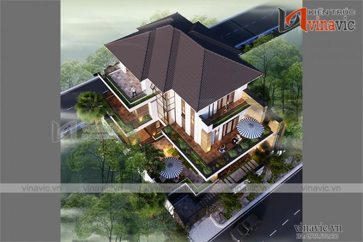 Biệt thự 3 tầng mái thái hiện đại và tầng hầm đầy ấn tượng BT1909