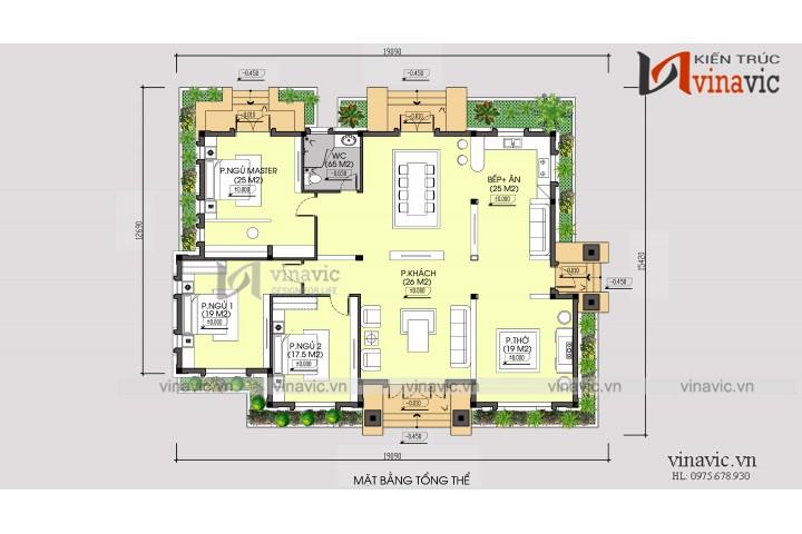 Mẫu mẫu biệt thự vườn 1 tầng 3 phòng ngủ