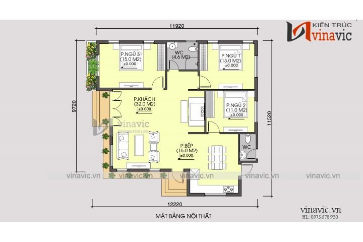 Mẫu nhà biệt thự đẹp 1 tầng hiện đại BT1656