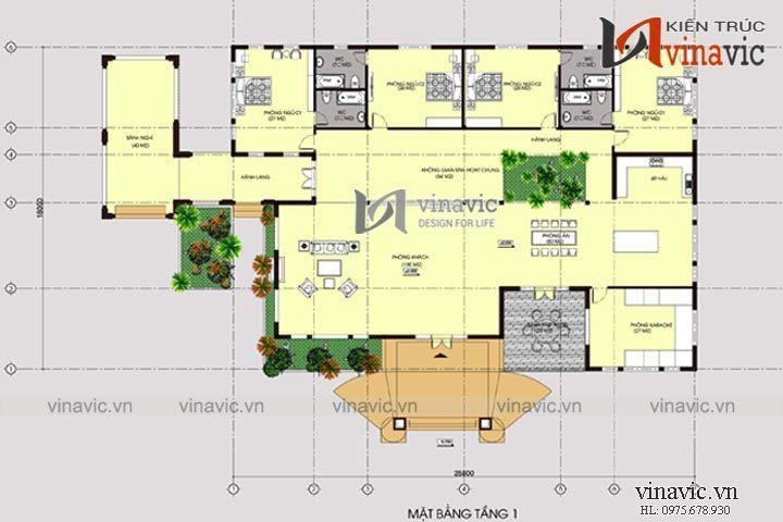 Mẫu biệt thự vườn 1 tầng 4 phòng ngủ mái thái diện tích 21x31m BT1508