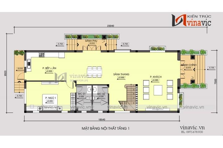 Mẫu thiết kế nhà 2 tầng 120m2 3 phòng ngủ mặt tiền 7m BT1681