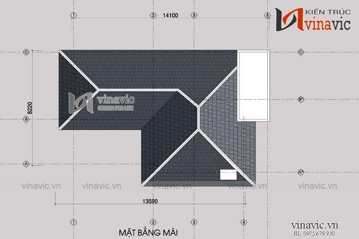 Mẫu nhà 2 tầng mái thái ở nông thôn mặt tiền rộng 9m dài 14m BT1512