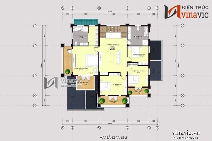 Mẫu nhà 2 tầng 1 tum 4 phòng ngủ mặt tiền 18m chiều sâu 15m  BT1478