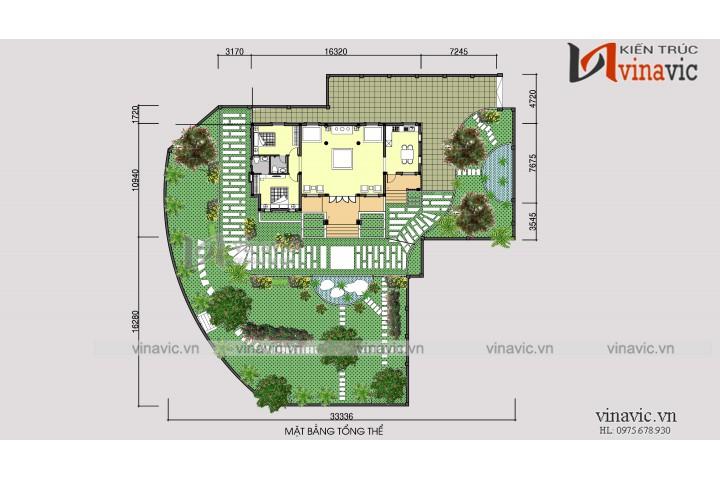 Thiết kế nhà 1 tầng 2 phòng ngủ mặt tiền 16m dài 10m đầu tư 800 triệu BT1527