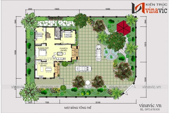 Biệt thự đẹp 2 tầng 140m2 mái thái diện tích 15x12m 5 phòng ngủ BT1821