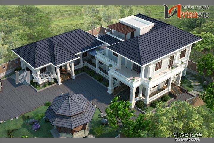 Mẫu thiết kế biệt thự cổ điển đẹp trên khuôn viên đất rộng BTCC1413
