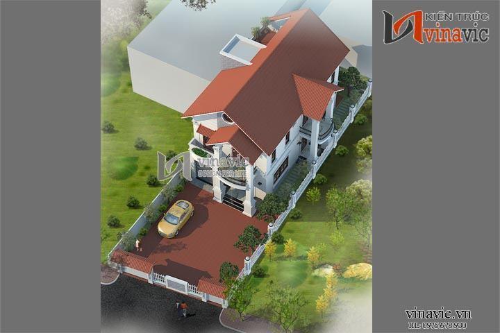 Thiết kế nhà biệt thự tân cổ điển đẹp tiểu cảnh sinh động BTCC1432