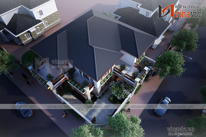 Mẫu thiết kế nhà biệt thự 2 tầng 160m2 ở Thành phố Vinh- Nghệ An BT1672