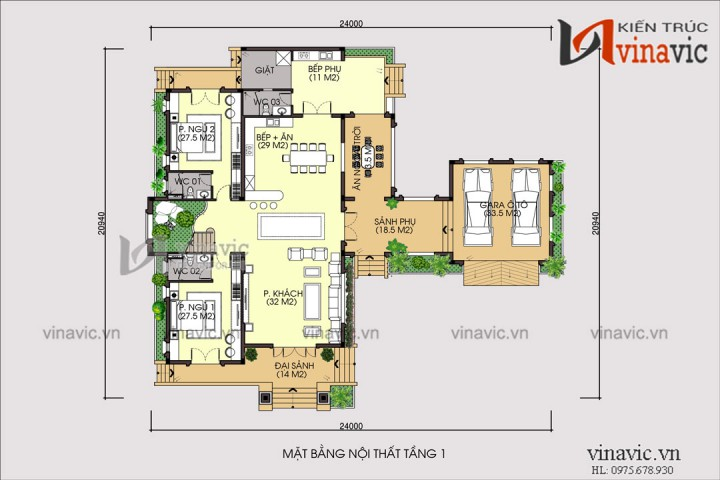 Bản vẽ thiết kế biệt thự đẹp 2 tầng diện tích 250m2 1 sàn mái thái BT1802