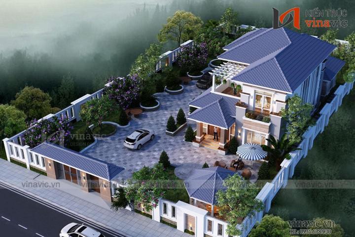 Mẫu thiết kế biệt thự 2 tầng 2 mặt tiền 10m tổng diện tích 260m2 BT1835