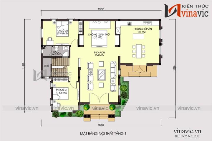 Hình ảnh mẫu nhà đẹp 2 tầng mái thái mặt tiền 16m chiều sâu 13m
