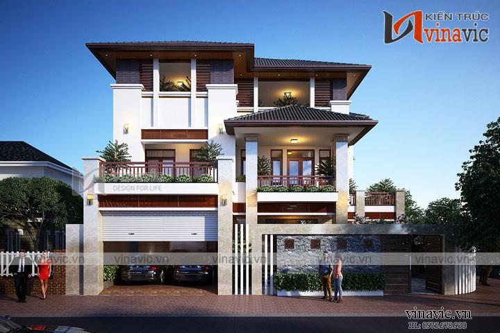 Mẫu nhà đẹp 3 tầng mặt tiền rộng 10m hiện đại ở Thành phố Vinh- Nghệ An BT1682