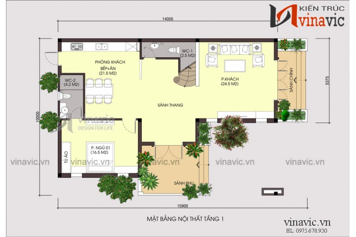 Mẫu nhà đẹp 3 tầng mặt tiền 10m sâu 14m phong cách hiện đại BT1695