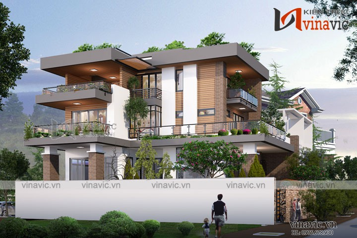 Mẫu nhà biệt thự 3 tầng hiện đại mặt tiền 11m kiểu Hàn Quốc  BT1800