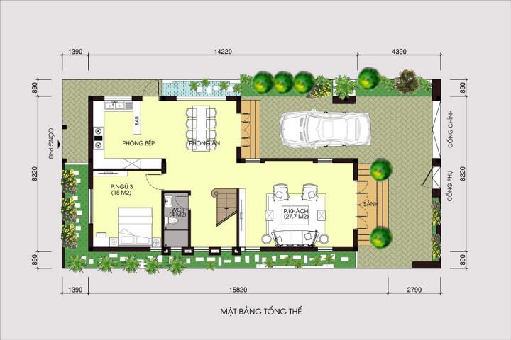 Biệt thự 3 tầng hiện đại mặt tiền 8m mái thái ở Phố Nối- Hưng Yên BT1692