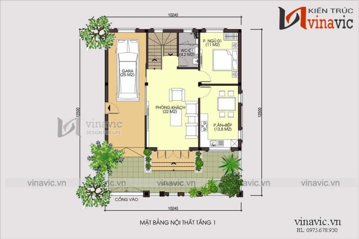 Kiểu nhà đẹp 3 tầng 4 phòng ngủ diện tích 10x9m có gara oto BT1696