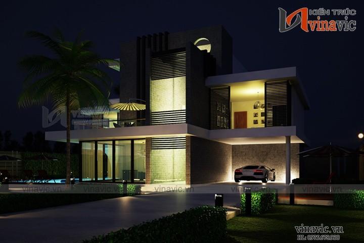 Mẫu thiết kế biệt thự hiện đại đẹp có bể bơi mini BTCC1601