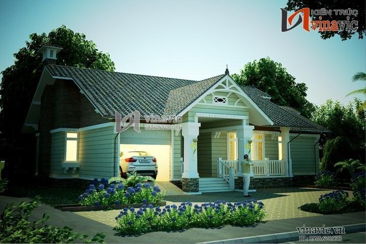Bản vẻ thiết kế nhà ngang 21m dọc 13m 3 phòng ngủ 1 tầng BT1491