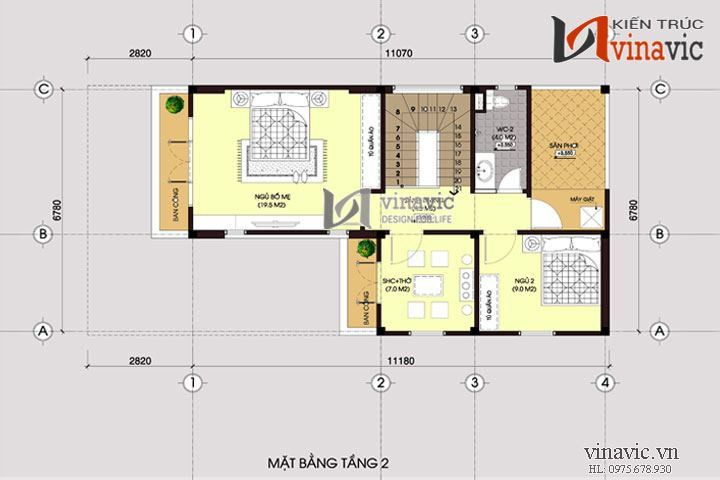 Mẫu nhà chữ L đẹp 2 tầng 80m2 3 phòng ngủ mặt tiền rộng 7m BT1451