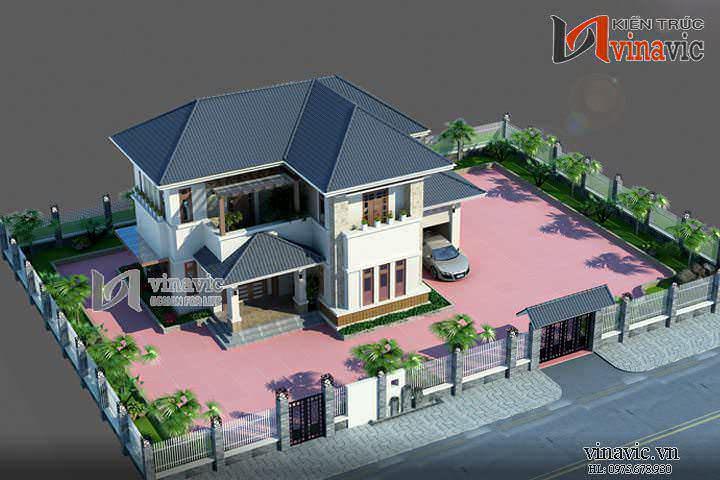 Biệt thự mini 2 tầng 3 phòng ngủ kích thước 12x11m thiết kế hiện đại BT1458