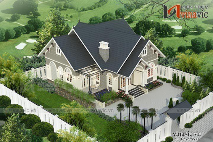 Mẫu nhà mái thái 1 tầng 4 phòng ngủ kích thước 13x13m ở Phú Thọ BT1522