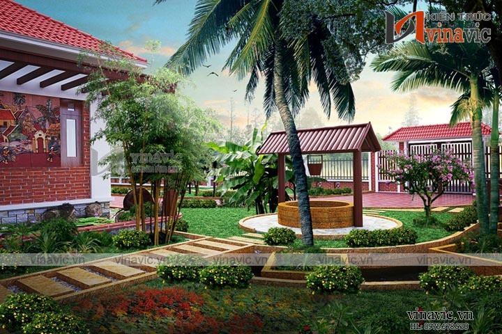 Mẫu nhà biệt thự vườn 1 tầng mái đỏ truyền thống ở Hà Nam BT1612