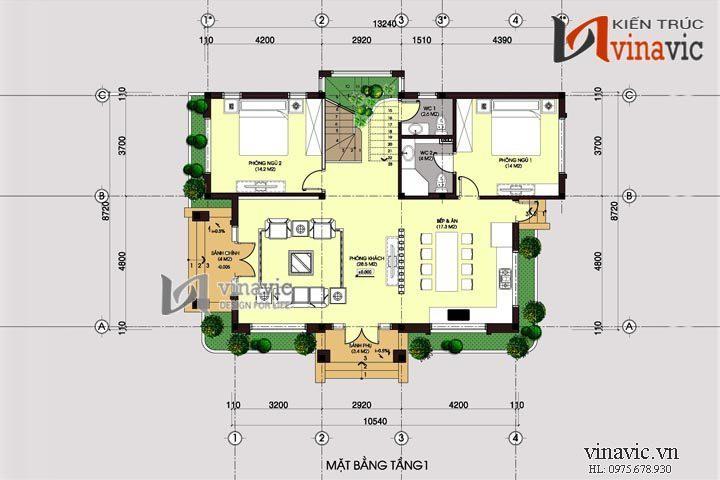 Bản thiết kế biệt thự 2 tầng 4 phòng ngủ diện tích đất 14mx10m BT1401