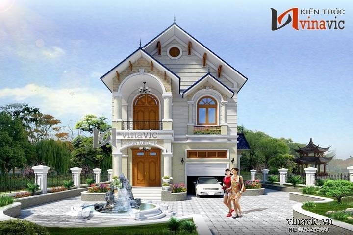 Mẫu nhà 2 tầng mái thái mặt tiền 8m có gara oto và sân vườn rộng BT1460