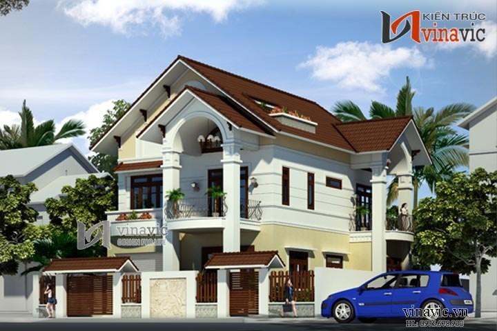 Mẫu thiết kế nhà 2 tầng 1 tum mái thái mặt tiền 12m diện tích 200m2 BT1474