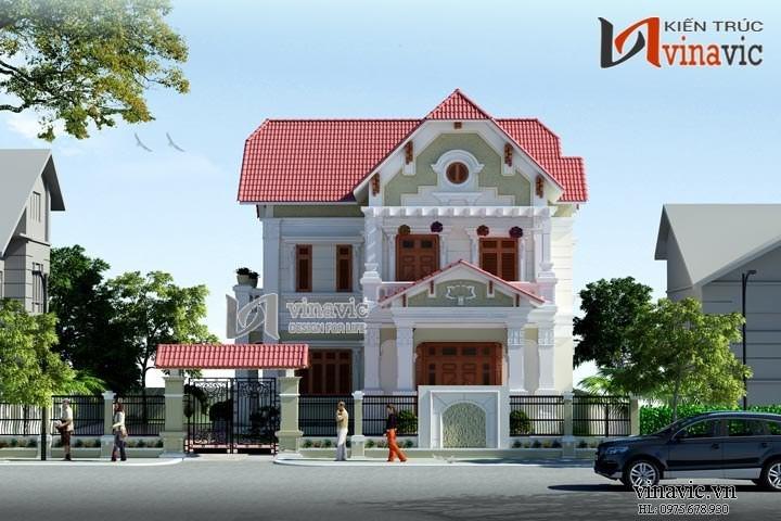 Thiết kế nhà 2 tầng 3 phòng ngủ 250m2 hình chữ L BT1477