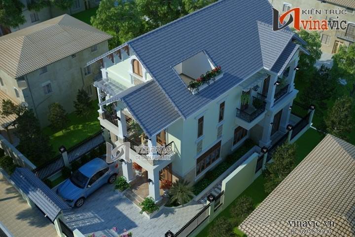 Biệt thự 2 tầng 5 phòng ngủ 120m2 mặt tiền 9m  tân cổ điển BT1479
