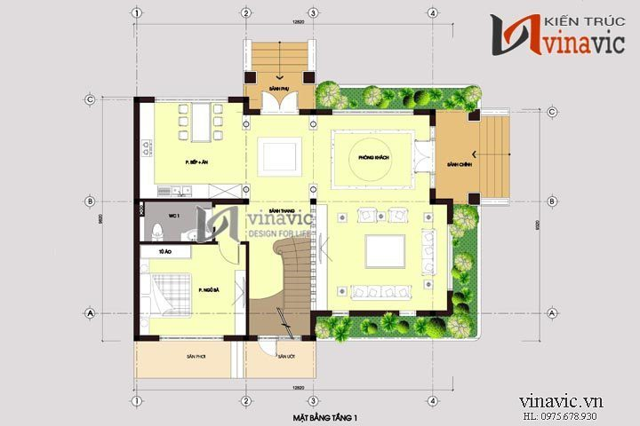 Mẫu nhà biệt thự đẹp 2 tầng BT1485