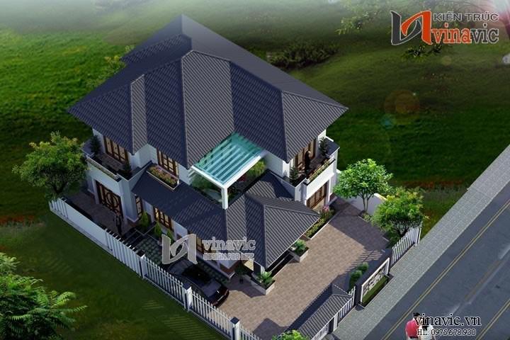 Mặt tiền nhà 2 tầng mái thái ngang 9m chiều sâu 13m thoáng mát BT1501