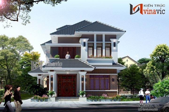 Mẫu nhà 2 tầng 1 tum mái thái đẹp kích thước 12mx18m hiện đại BT1503