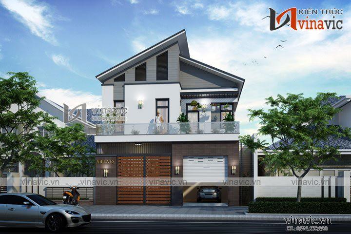 Bản vẽ biệt thự đẹp 2 tầng 100m2 kích thước 9x15m 3 phòng ngủ BT1621