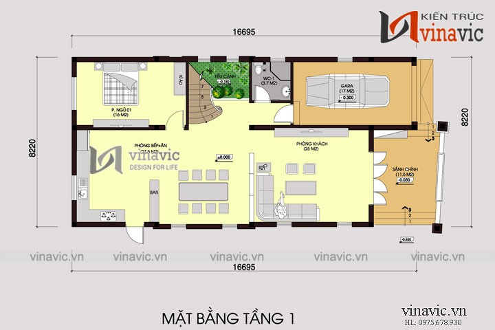 Mẫu nhà 2 tầng 4 phòng ngủ ngang 8m diện tích 120m2 1 mặt tiền BT1623