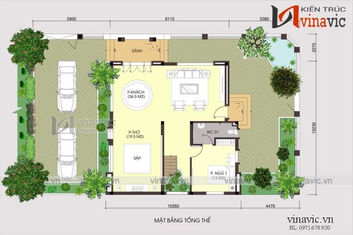 Biệt thự đẹp 2 tầng mái thái 130m2 trên dưới 1 tỷ diện tích 14x10m BT1639