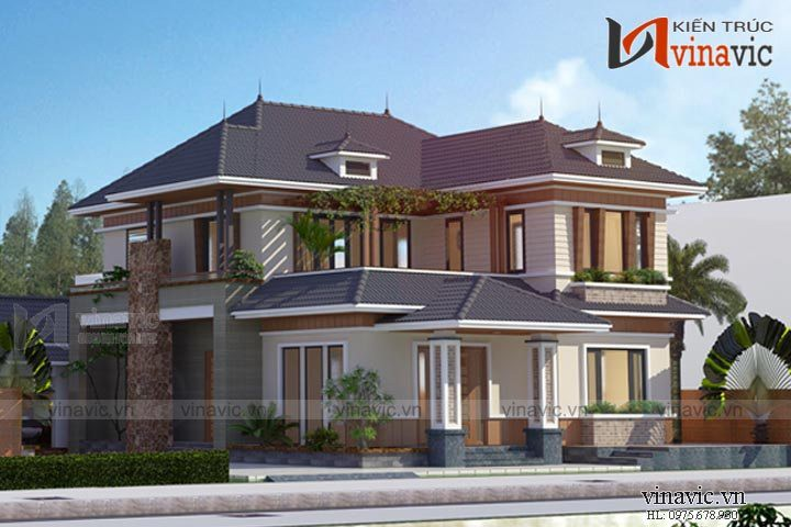 Bản thiết kế nhà 2 tầng 150m2 diện tích 12x16m ở Hoa Lư- Ninh Bình BT1645