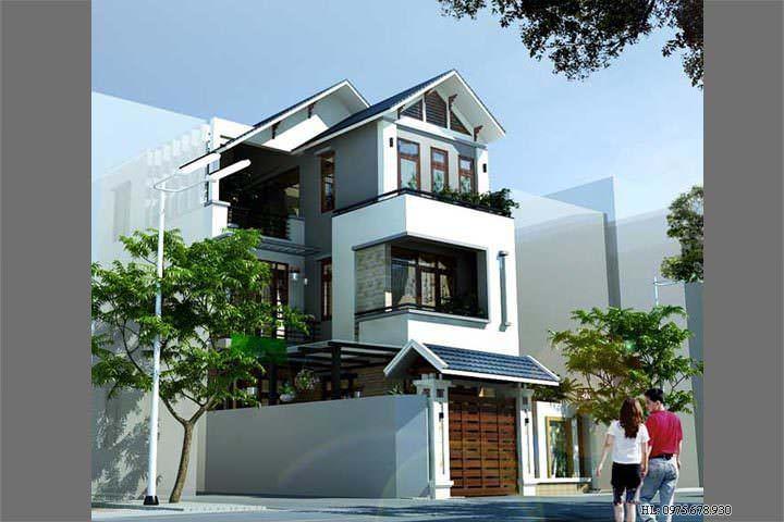 Mẫu thiết kế nhà biệt thự phố 3 tầng đẹp BT1405