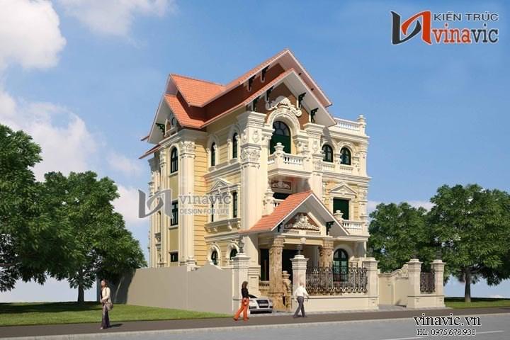 Biệt thự đẹp 3 tầng phong cách cổ điển BT1423