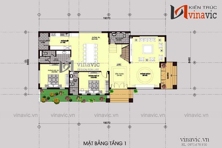 Thiết kế biệt thự 200m2 3 tầng mái thái hiện đại ở Nghệ An  BT1438