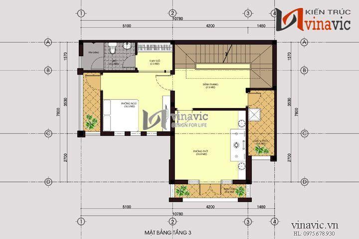 Thiết kế nhà 3 tầng 11x8m 90m2 mặt tiền 11m  phong cách hiện đại BT1457
